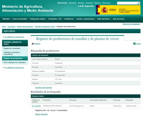 magrama buscador productores semillas plantas vivero Galicia Vid