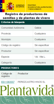 Registro de productores plantas de vivero