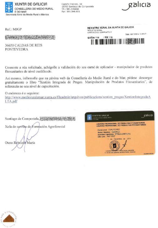 certificado carné cualificado Xunta